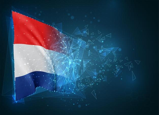 Pays-bas, drapeau, objet 3d abstrait virtuel de polygones triangulaires sur fond bleu