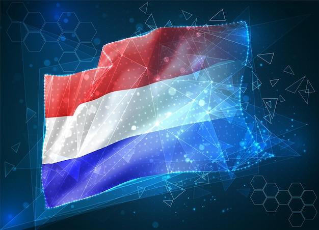 Pays-bas, drapeau vectoriel, objet 3d abstrait virtuel à partir de polygones triangulaires sur fond bleu