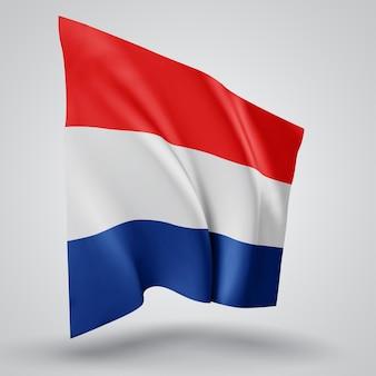 Pays-bas, drapeau vectoriel avec des vagues et des virages ondulant dans le vent sur fond blanc.