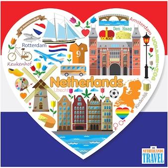 Pays-bas love.set flaticons colorés et symboles en forme de coeur