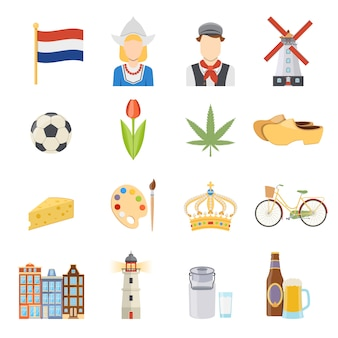 Pays-bas plat icons set