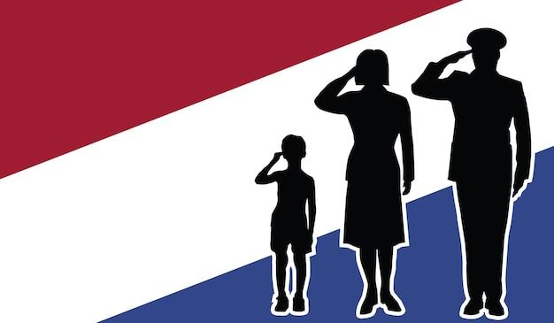 Pays-bas soldat famille salut fond patriote