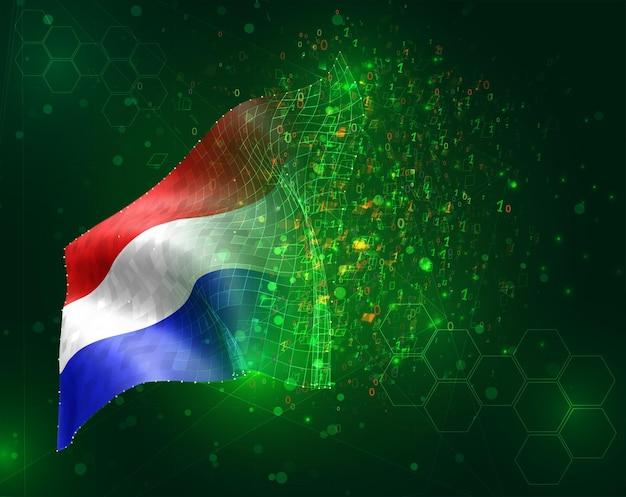 Pays-bas, vecteur drapeau 3d sur fond vert avec des polygones et des numéros de données