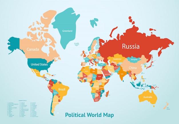 Pays de la carte de la terre