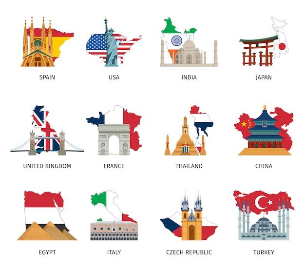 Pays drapeaux monuments icons set