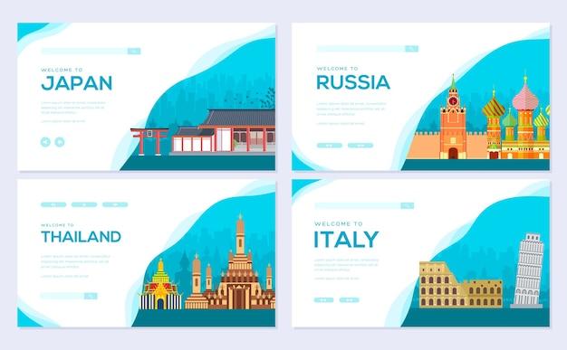 Pays du paysage japon, russie, thaïlande, italie du modèle de bannière web, en-tête d'interface utilisateur, entrez dans le site.