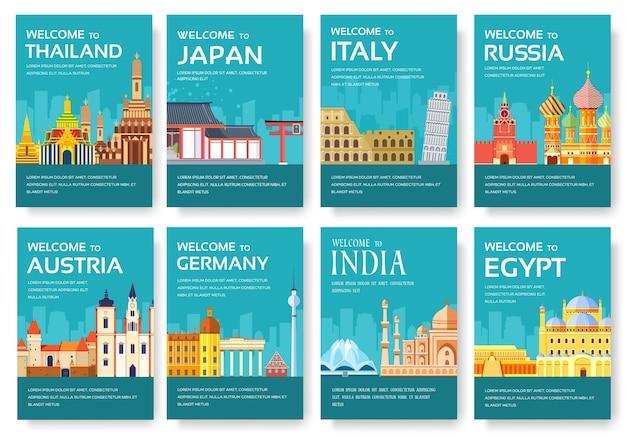 Pays d'egypte, autriche, allemagne, inde, russie, thaïlande, japon, italie jeu de cartes.