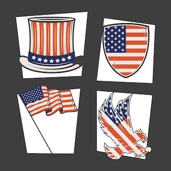 Pays des états-unis mis quatre cliparts