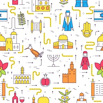 Pays israël guide de voyage de vacances. modèle sans couture ethnique traditionnel, contour, fine ligne.