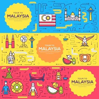 Pays malaisie cartes de voyage fine ligne
