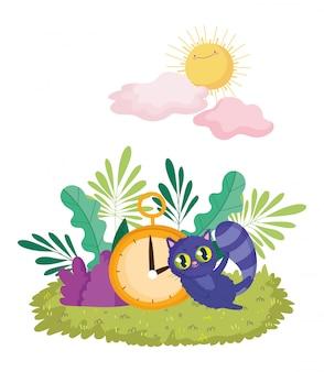 Pays des merveilles, chat et horloge feuillage nature soleil nuages dessin animé