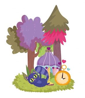Pays des merveilles, chat lampe horloge arbres pré dessin animé