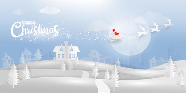 Pays des merveilles de l'hiver avec le père noël et le papier de renne coupé style avec typographique de noël