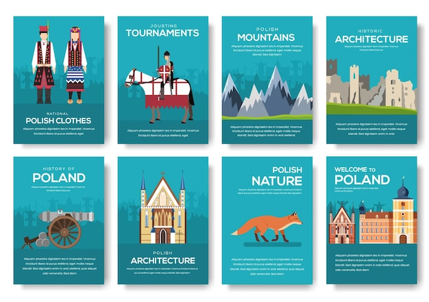 Pays pologne guide de vacances de voyage des marchandises, des lieux. ensemble d'architecture, mode, gens