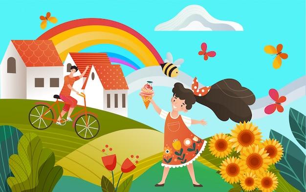 Pays souvenirs d'été, paysage rural, enfants fille avec glace et garçon à vélo, illustration de campagne arc-en-ciel.