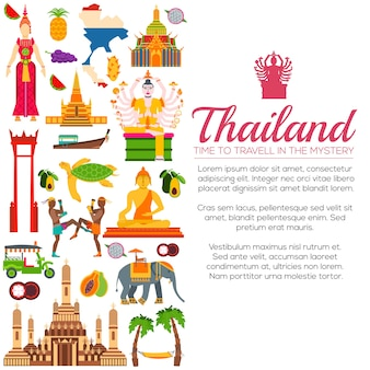 Pays thaïlande guide de vacances de voyage de marchandises. ensemble d'architecture, mode, gens, articles, nature.