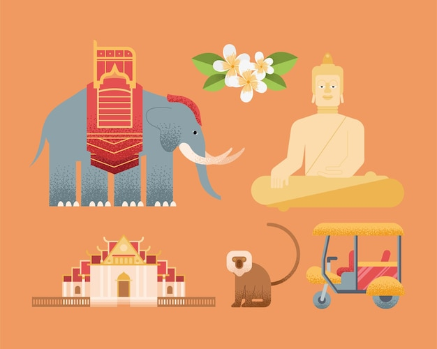 Pays de la thaïlande mis six icônes