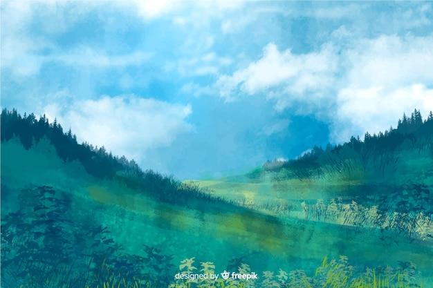 Paysage abstrait aquarelle
