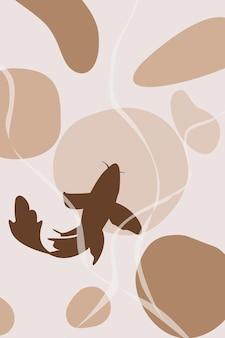 Paysage abstrait avec poisson carpe koi silhouette affiche abstraite vecteur stock design d'intérieur