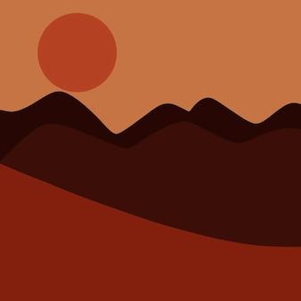 Paysage abstrait avec vue sur le désert et le coucher du soleil
