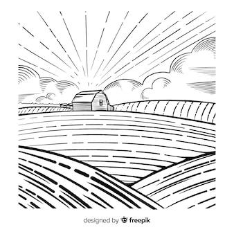Paysage agricole dessiné à la main