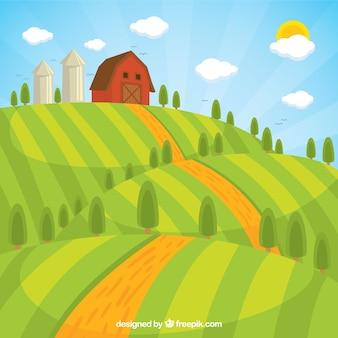 Paysage agricole avec grange dans une journée ensoleillée