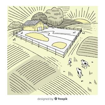 Paysage agricole incolore dessiné à la main