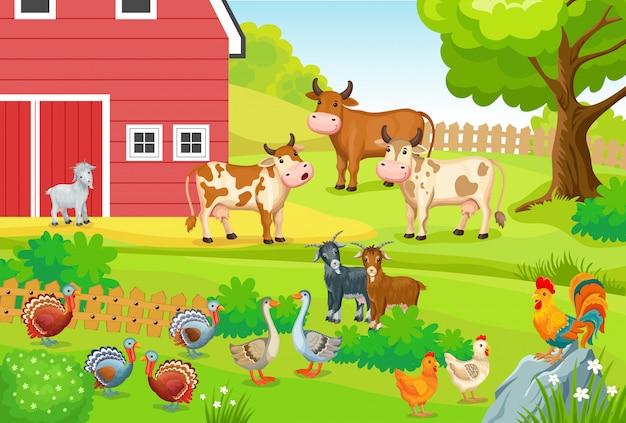 Paysage avec des animaux de ferme.