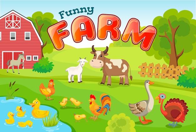 Paysage avec des animaux de la ferme.