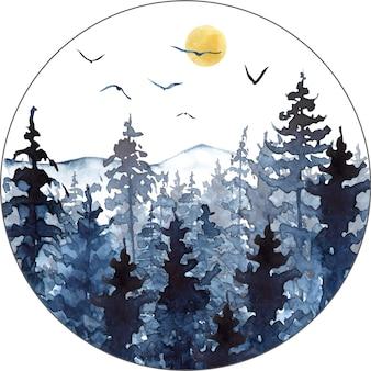 Paysage d'aquarelle dans des couleurs bleues avec des pins de montagnes et du brouillard