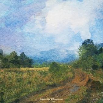 Paysage d'aquarelle dans un style impressionniste