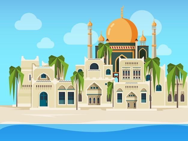 Paysage arabe. les bâtiments musulmans culturels désertent avec des objets architecturaux arabes dans un style plat