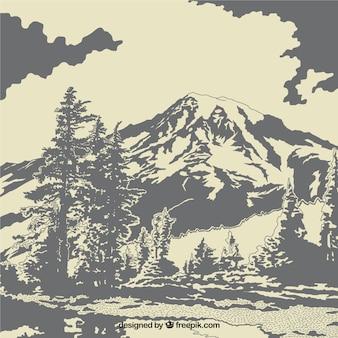 Paysage avec des arbres et des montagnes