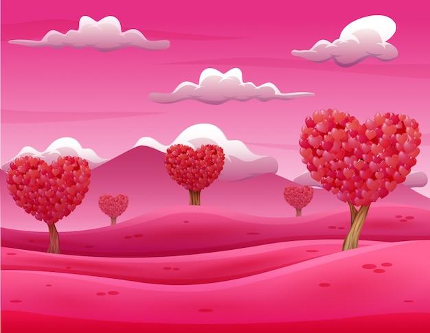 Paysage d'arbres de la saint-valentin avec des feuilles en forme de coeur