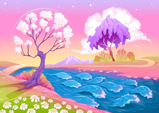 Paysage astral avec des arbres et rivière vector illustration