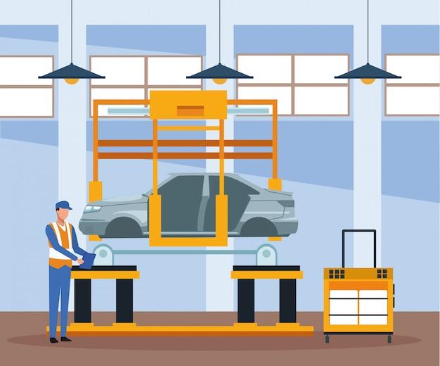 Paysage d'atelier de réparation automobile avec mécanicien travaillant avec voiture levée