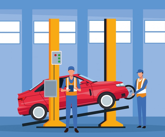 Paysage d'atelier de réparation automobile avec voiture levée et mécanicien debout