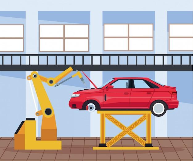 Paysage d'atelier de voiture avec voiture levée et bras machine industrielle travaillant sur