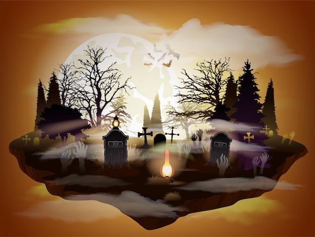 Paysage au clair de lune cimetière halloween