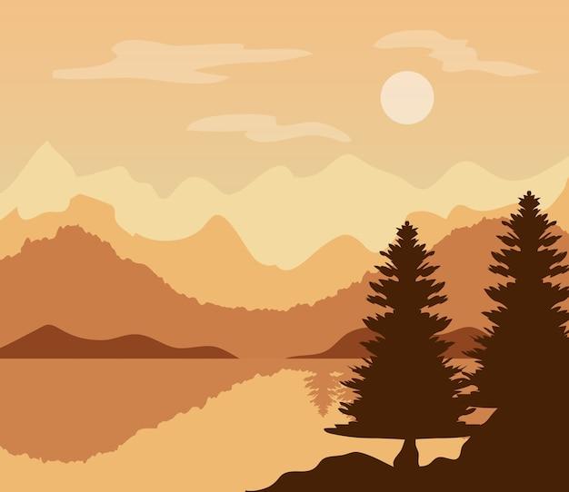 Paysage au coucher du soleil avec pins et lac.