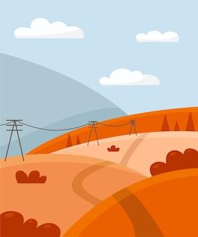 Paysage d'automne avec arbres champs collines et montagne paysage de campagne
