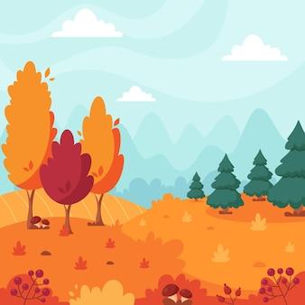 Paysage d'automne avec des arbres montagnes champs feuilles paysage de campagne