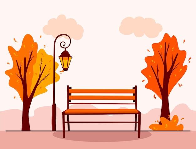 Paysage d'automne. arrière-plan. parc de ville. banc de parc, lanterne. style de bande dessinée. illustration vectorielle pour la conception et la décoration.