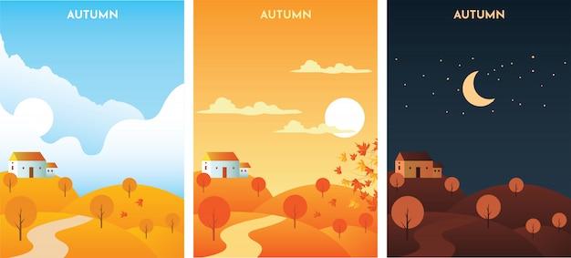 Paysage d'automne au lever, coucher de soleil et nuit. bannières de saison d'automne modèle défini.