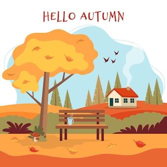 Paysage d'automne avec banc mignon