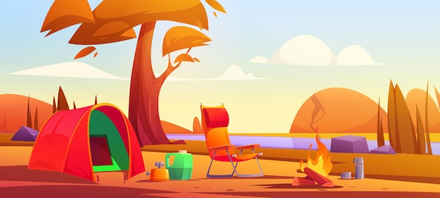 Paysage d'automne camping dessin animé