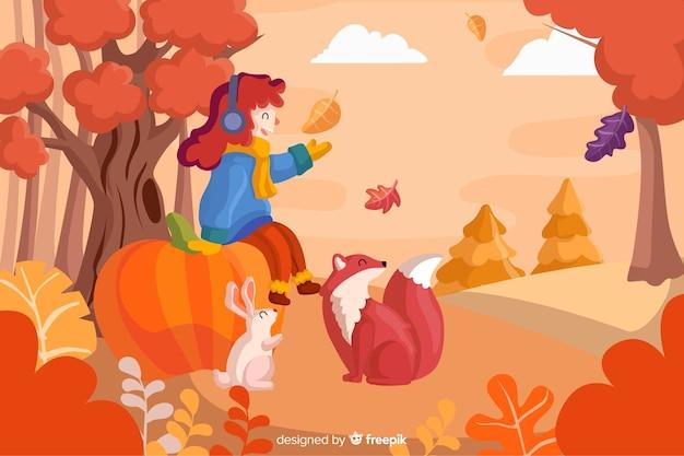 Paysage d'automne fond plat designlan
