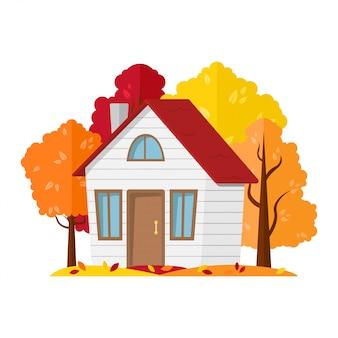 Paysage d'automne. maison de campagne dans la forêt d'automne.