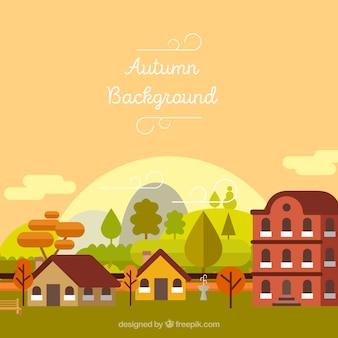 Paysage d'automne avec des maisons et des arbres en forme de plan