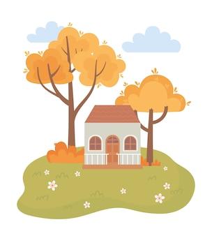 Paysage en automne scène de nature, arbres de campagne de chalet buissons de fleurs
